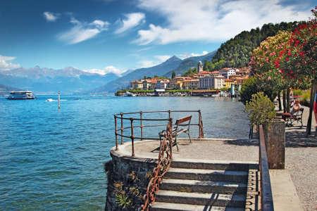 View of historic town at the coast of beautiful lake, Bellagio, Como lake, Italy.