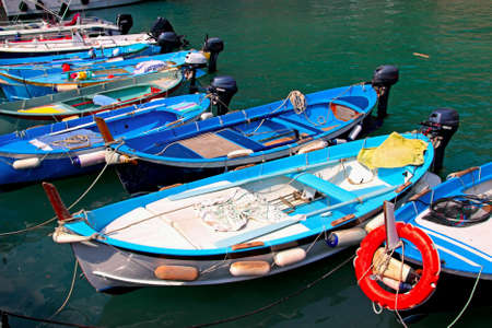 Many sailing boats in the port, Cinque Terre, Italy.
