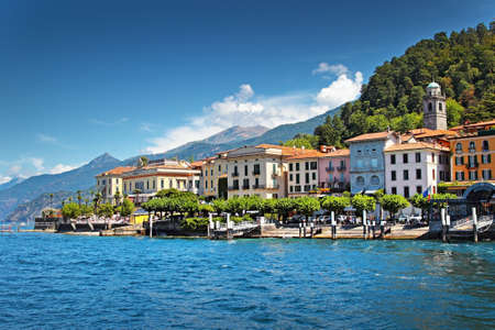 View of old Italian town at the coast of the lake, Bellagio, Como lake, Italy. Stock Photo
