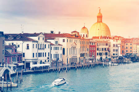 italian architecture: Beautiful view of Grand Canal and Italian architecture in Venice, Italy. Color toning effect applied.