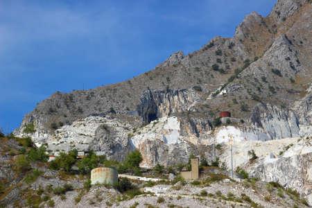 apennines: White marble quarries in Apennines mountains, Carrara, Italy. Open mining.
