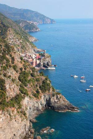 vernazza: View of Ligurian coast and Vernazza village, Cinque Terre, Italy