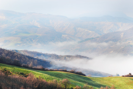 apennines: View of morning landscape with mist in the Apennines mountains, Italy