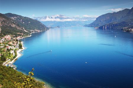 lake shore: View above big beautiful lake, Como lake, Italy.