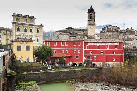 ethnographical: VILLAFRANCA, ITALY - DECEMBER 25, 2015: Building of Ethnographic museum and old  medieval city of Villafranca, Lunigiana (Tuscany province) Italy.