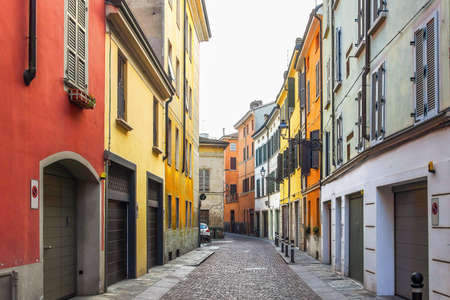 Empty old street in the center of Parma, Emilia-Romagna province, Italy. Stock Photo