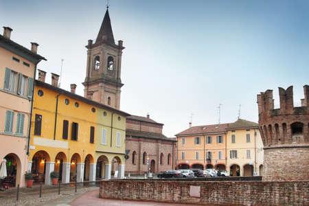 emilia: Central square of old town of Fontanellato, Emilia Romagna, Italy. Editorial