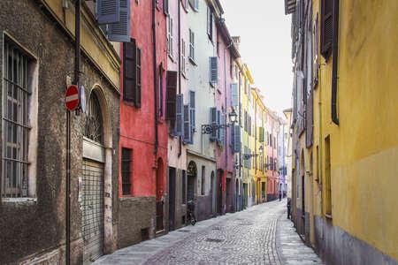 emilia: Winding narrow street in Parma, Emilia Romagna province, Italy.
