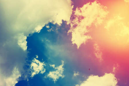 filtered: Cloudscape and blue sky. Filtered image. Stock Photo