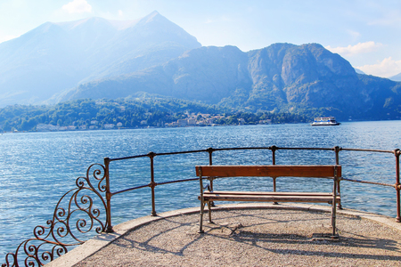 cast in place: Cozy place with bench to overview cast Como lake, Bellagio, Italy. Stock Photo
