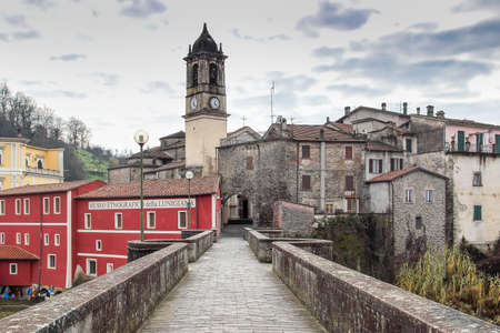 Old road to medieval castle in Villafranca, Lunigiana, Tuscany region, Italy.