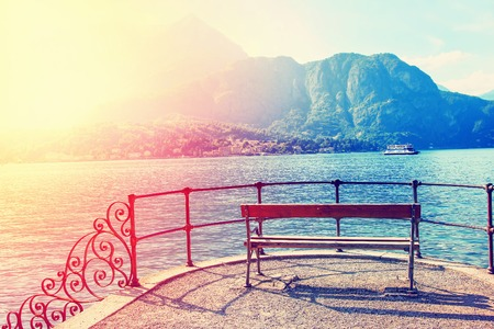 Peaceful overview of Como lake, near Bellagio, Italy. Filtered image.