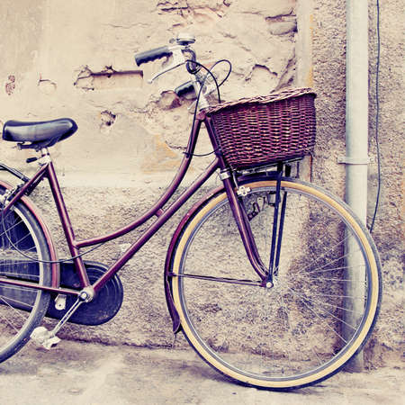 filtered: Classic bicycle with basket. Filtered image.
