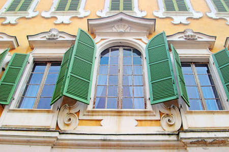emilia: Three windows of Reggia di Colorno palace, Emilia Romagna region, Italy.