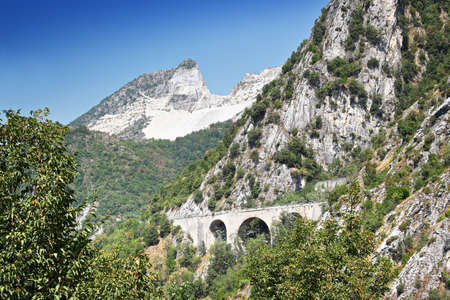 tuscana: Rocky mountains where marble quarries are located, the Apennine mountains, Tuscana province, near Carrara, Italy.