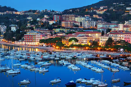 coastal city: Coastal city of Lerici in summer night, Liguria region, Italy.