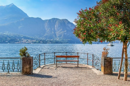 quite: Quite place to overview Como lake, Bellagio, Italy. Stock Photo