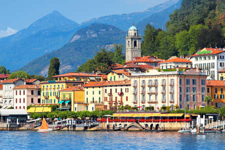 View of beautiful buildings in Bellagio city in summer, Como lake, Italy. Stock Photo