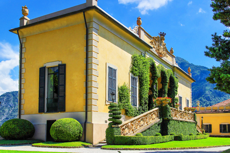 VILLA BALBIANELLO, ITALY - AUGUST 02, 2015: Classic Loggia di Villa del Balbianello, Como lake, Italy. Several movie makers used the villa as location shooting, including A Month by the Lake, Casino Royale and Star Wars. Editorial