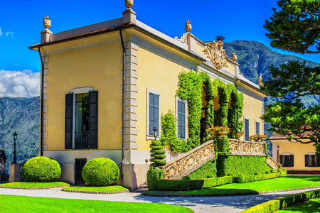 classy house: VILLA BALBIANELLO, ITALY - AUGUST 02, 2015: Loggia di Villa del Balbianello, Como lake, Italy. Several feature films have used the villa as location shooting, including A Month by the Lake, Casino Royale and Star Wars.