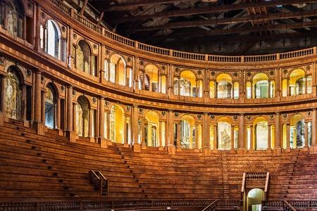 PARMA, ITALY - JANUARY 05, 2016: Historical Farnese theatre built in 1618 in Palazzo della Pilotta in Parma, Emilia Romagna, Italy.