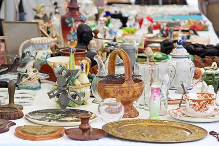 SARZANA, ITALY - AUGUST 10, 2015: Summer market of old vintage objects in Sarzana, Tuscany region, Italy.