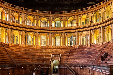 PARMA, ITALY - JANUARY 05, 2016: Museum of Farnese theatre in Parma, Emilia Romagna, Italy. The date of construction is 1618.