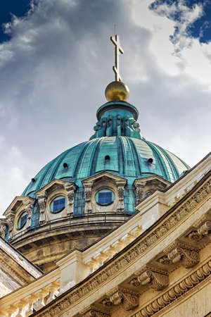 kazansky: Blue dome with golden cross on the orthodox cathedral. Kazansky cathedral in Saint Petersburg, Russia.