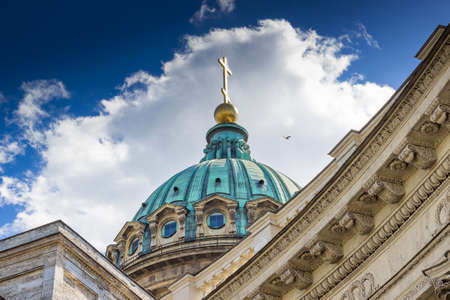 kazansky: Dome with cross of the orthodox cathedral. Kazansky cathedral in Saint Petersburg, Russia.