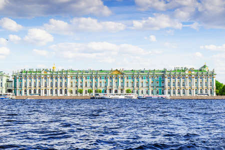 Panoramic view of the building of Hermitage palace and Neva river in sunny day, Saint Petersburg, Russia. Editorial