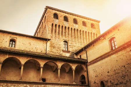 Courtyard in Torrechiara castle, Emilia-Romagna region. Italy. Editorial