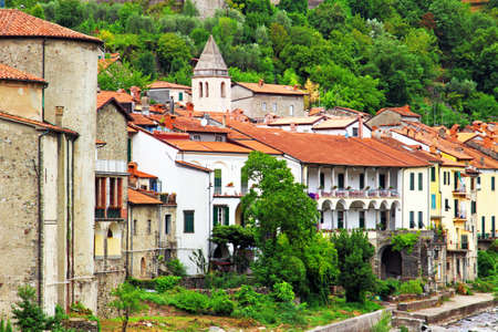 View of historical houses in scenic Pontremoli village, Ligurian province, Italy.