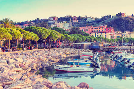 filtered: Scenic harbor in Lerici, Italy. Filtered image.