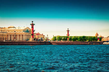 Panoramic view of Vasilievsky island with Rostral column in Saint Petersburg, Russia.