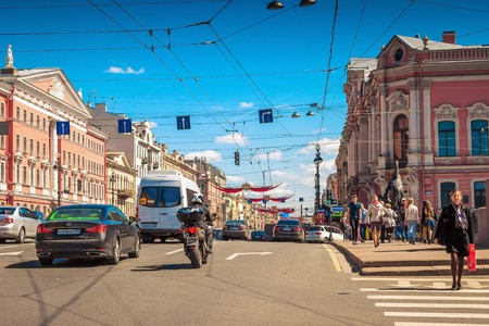 SAINT PETERSBURG, RUSSIA - MAY 25, 2015: Nevsky prospect in Saint Petersburg, Russia. Editorial