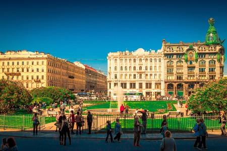 SAINT PETERSBURG, RUSSIA - MAY 25, 2015: View on Nevsky prospect in Saint Petersburg, Russia.