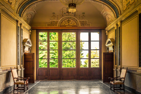corridors: VILLA CARLOTTA, ITALY - AUGUST 02, 2015: Interior in villa Carlotta, Como lake, Italy. Editorial