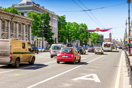 SAINT PETERSBURG, RUSSIA - MAY 25, 2015: View of Nevsky prospect in Saint Petersburg, Russia. Editorial