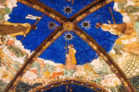 TORRECHIARA, ITALY - JANUARY 18, 2015: Fresco on the ceiling in Torrechiara castle, Emilia-Romagna region, Italy.
