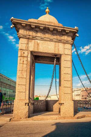 stone arch: Famous stone arch on Lomonosov bridge in Saint Petersburg, Russia. Stock Photo