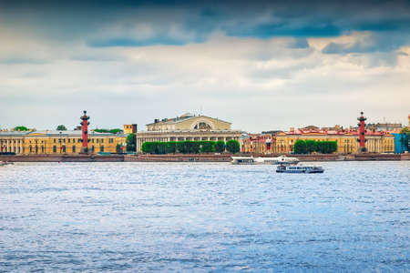 neva: Panoramic view of Vasilievsky island and Neva river in Saint Petersburg, Russia.