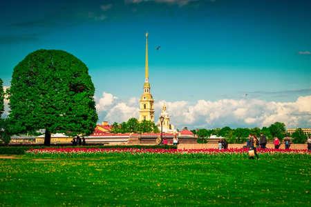 Green lawn on Vasilievsky island in Saint Petersburg, Russia.
