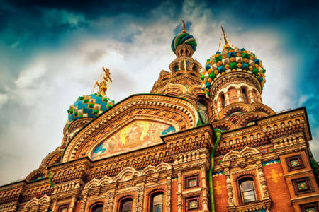 Famous church of the Savior on Spilled Blood over the sky in Saint Petersburg. Russia.