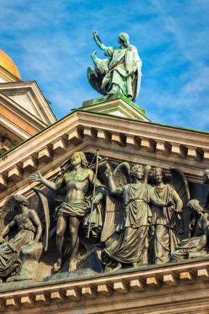 isaac: Statue of Jesus Christ and angels on Isaac cathedral, Saint Petersburg, Russia.