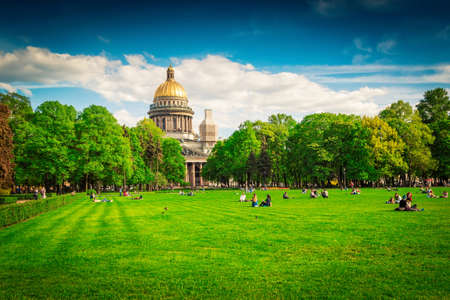 Park in front of famous Isaac cathedral in Saint Petersburg, Russia.