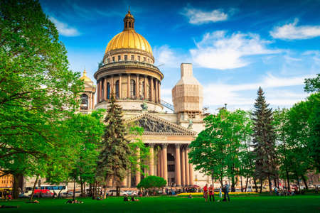 isaac: View of famous Isaac cathedral in Saint Petersburg, Russia. Stock Photo