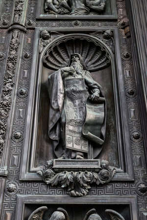 confessor: Statue of Saint Isaac the Confessor (Isaac the Dalmatian) in Isaac cathedral, Saint Petersburg, Russia.