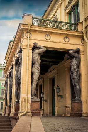 Atlas statues under the arch in Saint Petersburg, Russia.