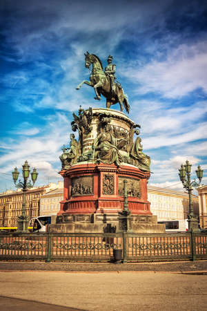 nikolay: The Monument to Nicholas I on St Isaacs Square in Saint Petersburg, Russia.