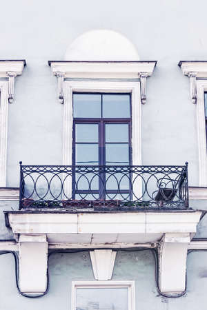 Balcony on the old building. Stock Photo